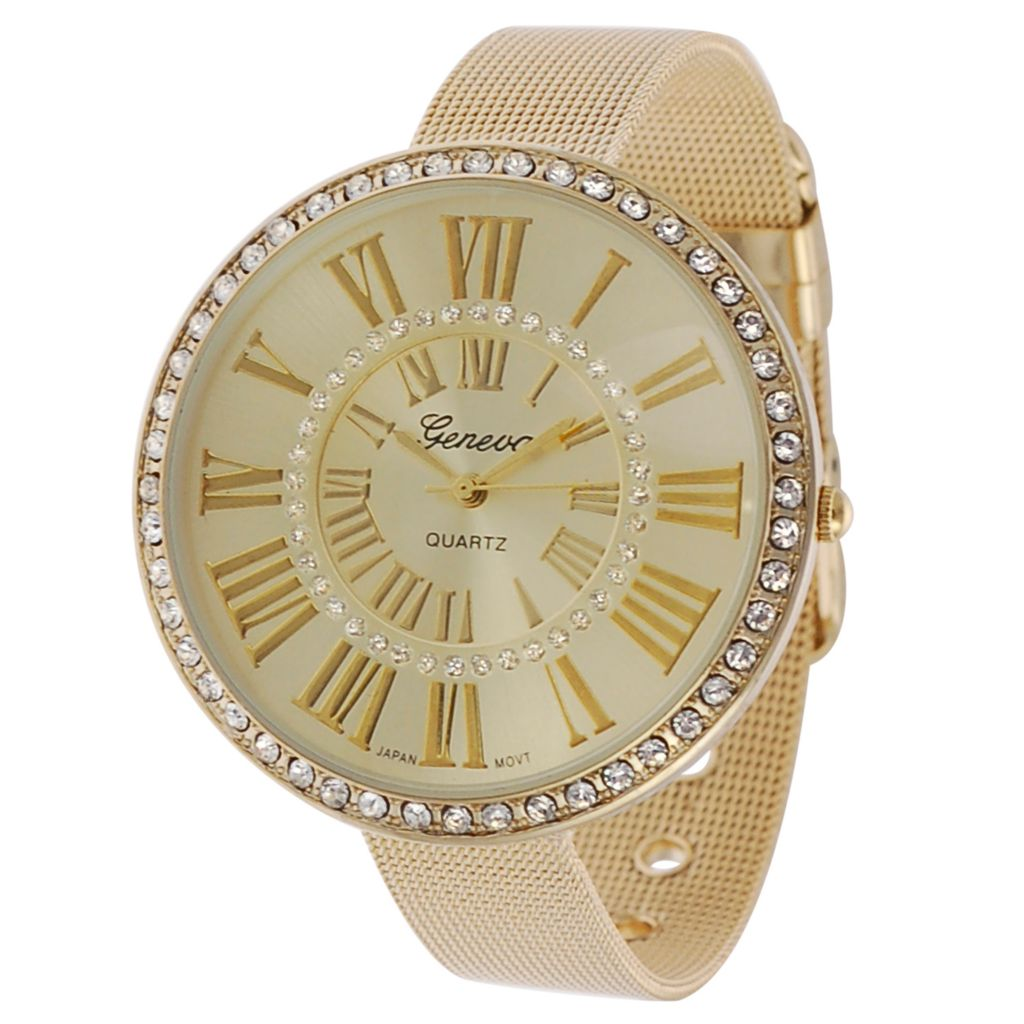624-800 - Geneva Platinum Women's Quartz Rhinestone Accented Strap Watch