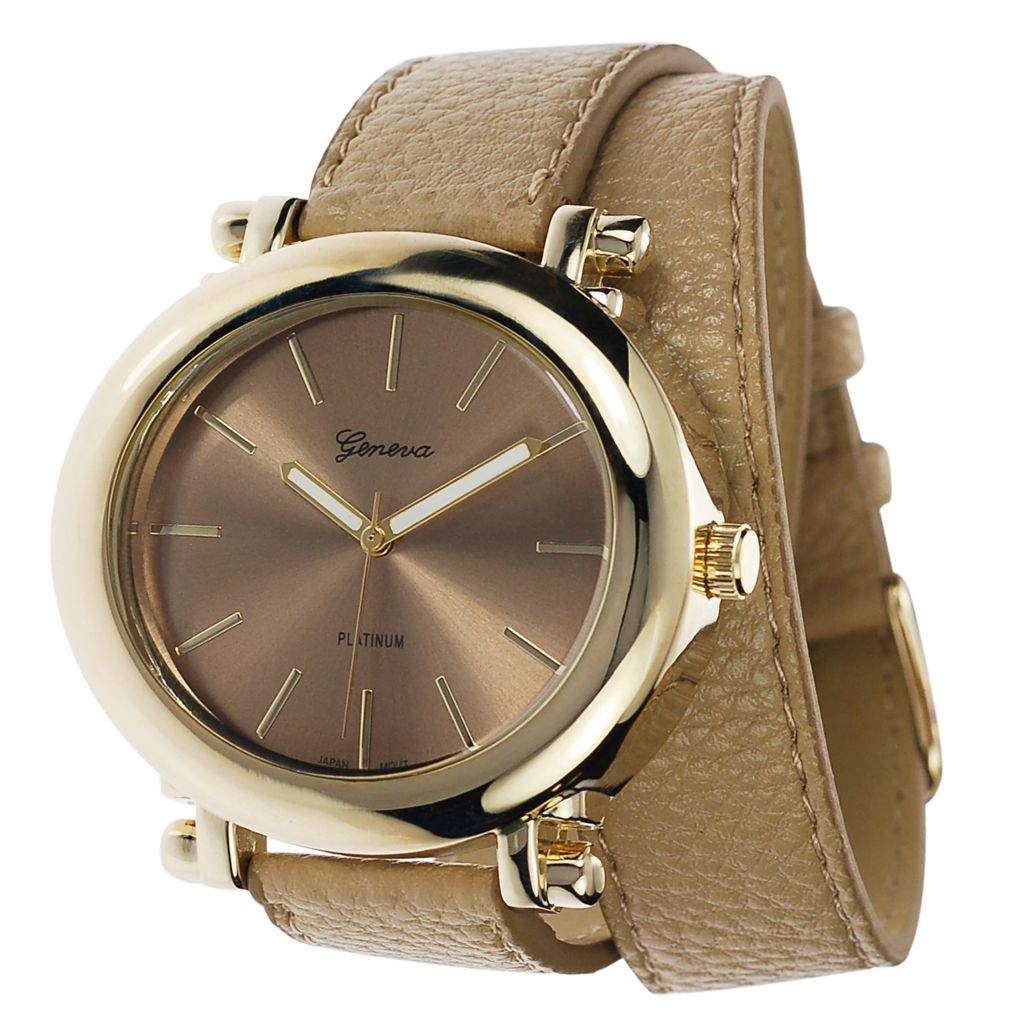 624-801 - Geneva Platinum Women's Quartz Double Wrap Faux Leather Strap Watch