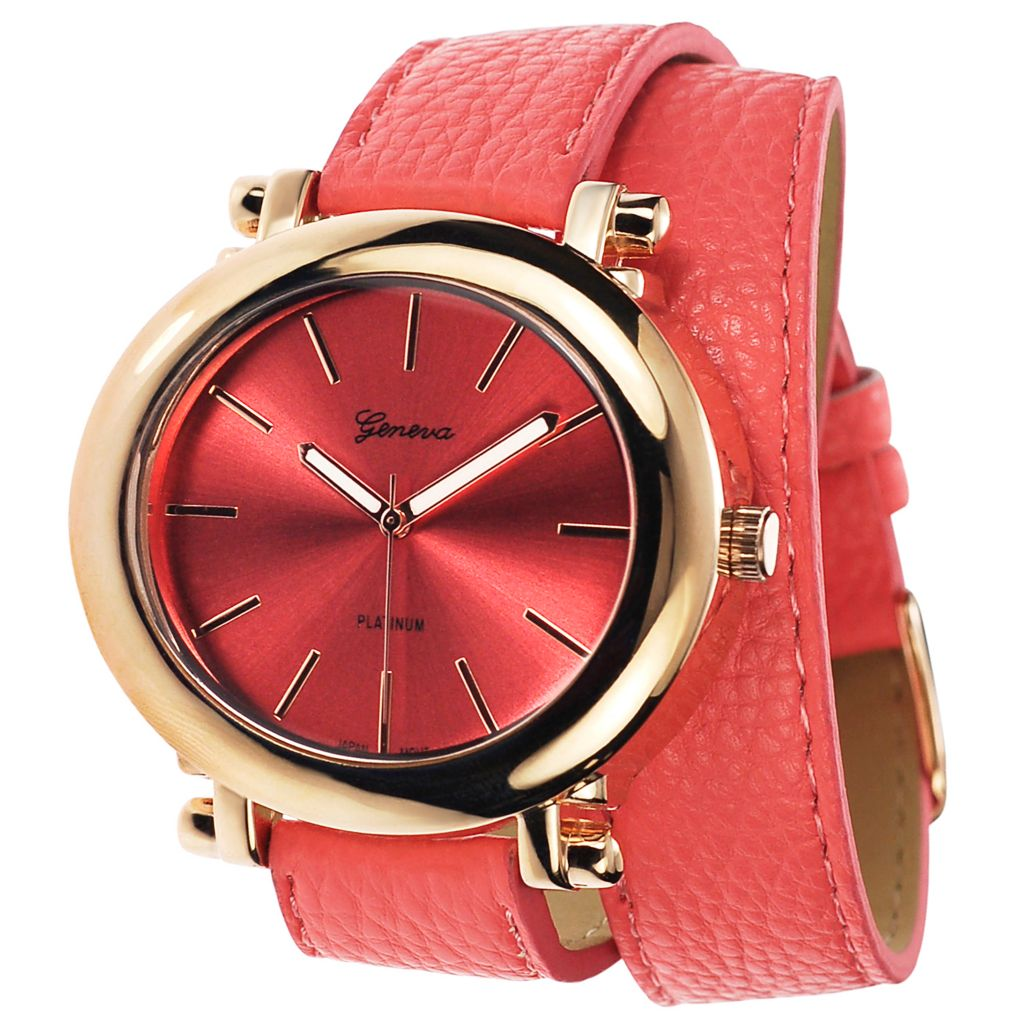 624-802 - Geneva Platinum Women's Quartz Double Wrap Faux Leather Strap Watch