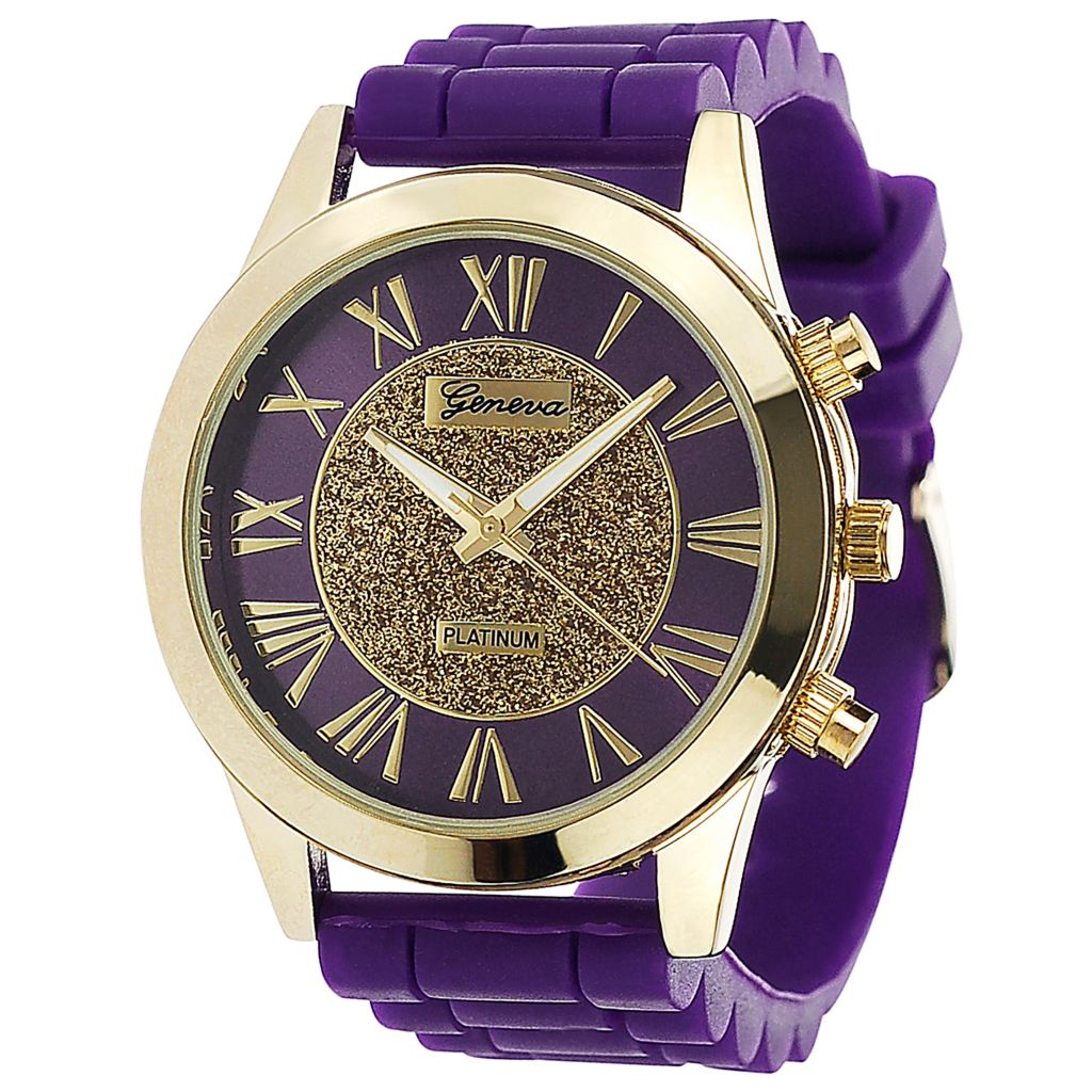 624-803 - Geneva Platinum Women's Quartz Silicone Strap Watch