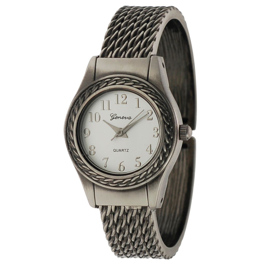 624-810 - Geneva Platinum Women's Quartz Rhinestone Accented Cuff Bracelet Watch