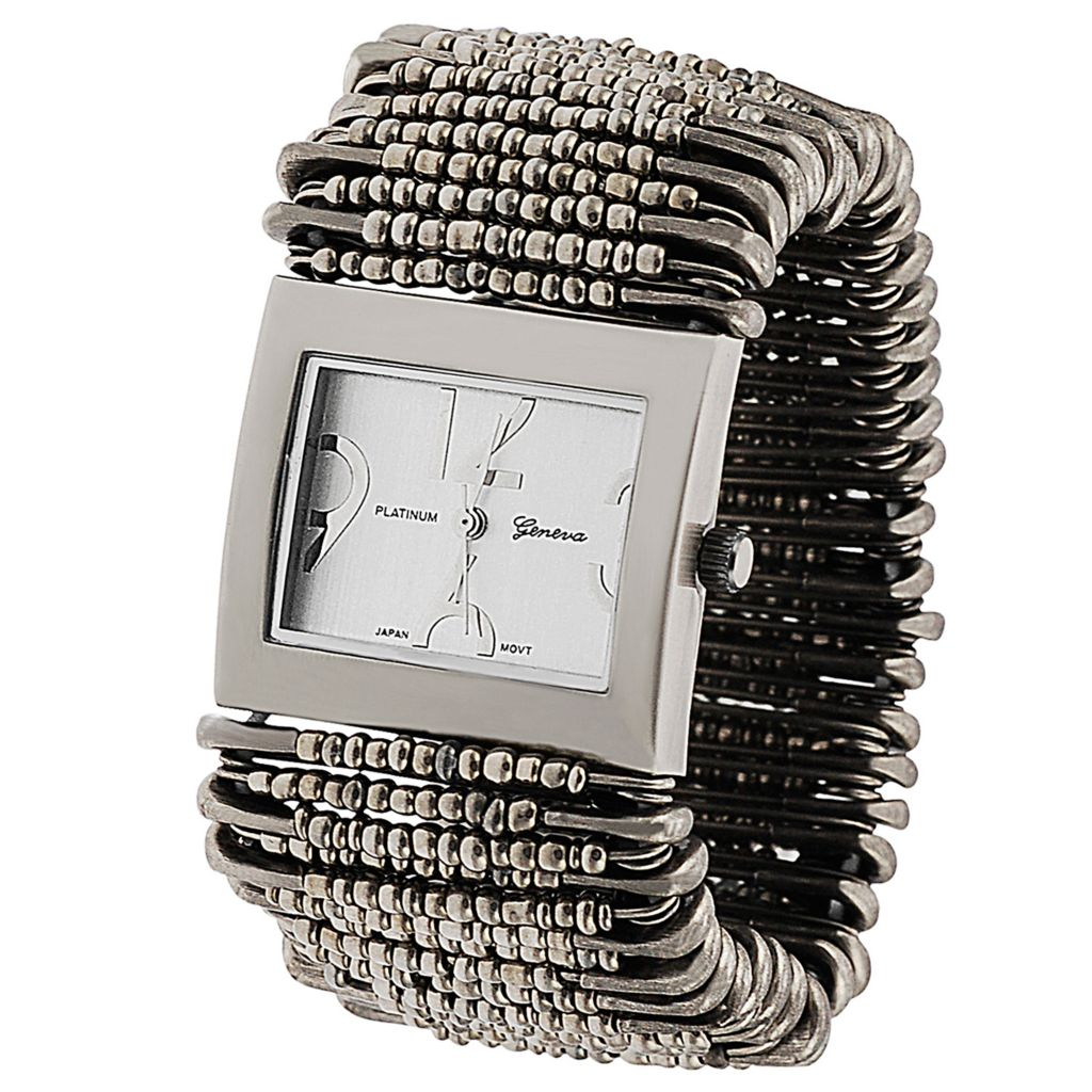 624-815 - Geneva Platinum Women's Quartz Safety Pin Stretch Bracelet Watch