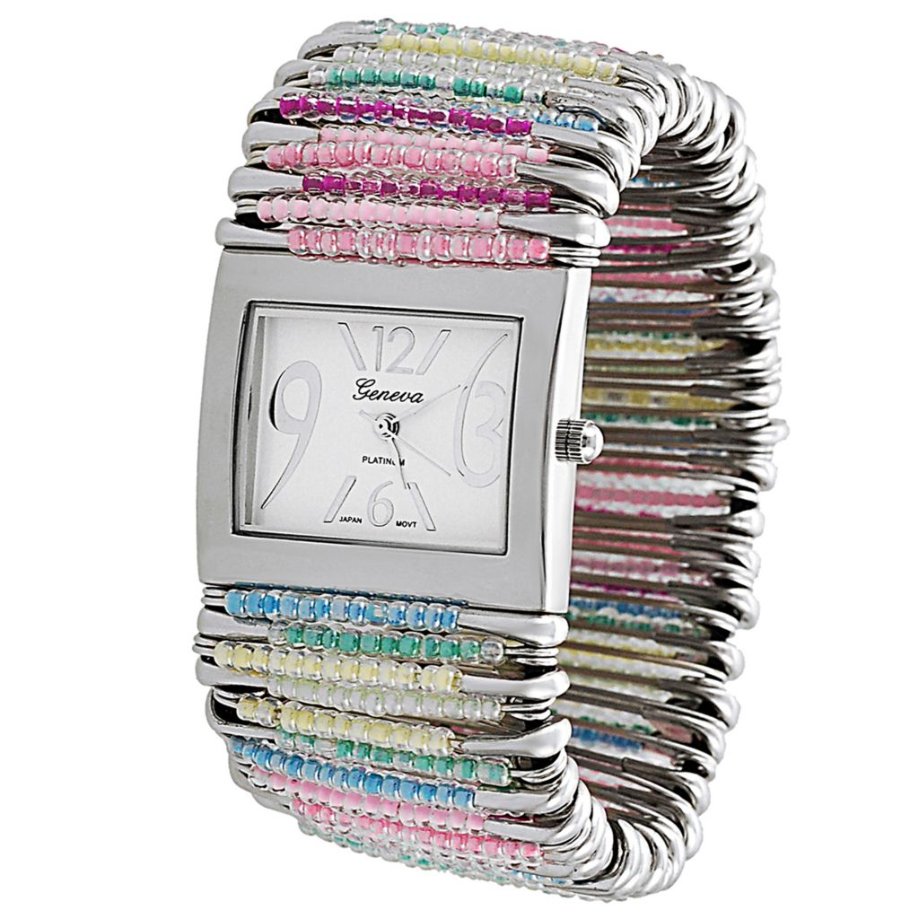 624-816 - Geneva Platinum Women's Quartz Safety Pin Stretch Bracelet Watch