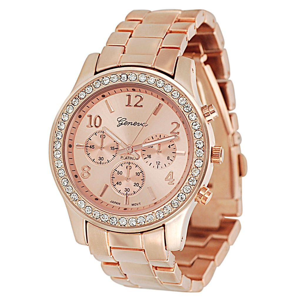 624-821 - Geneva Platinum Women's Quartz Rhinestone Accented Bracelet Watch