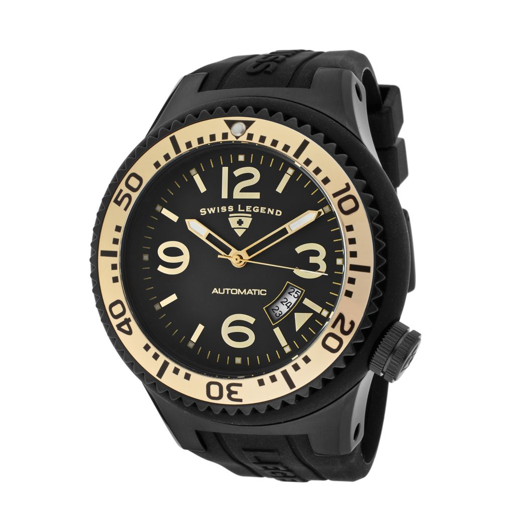 624-830 - Swiss Legend 52mm Neptune Automatic Silicone Rubber Strap Watch w/ Single Slot Winder