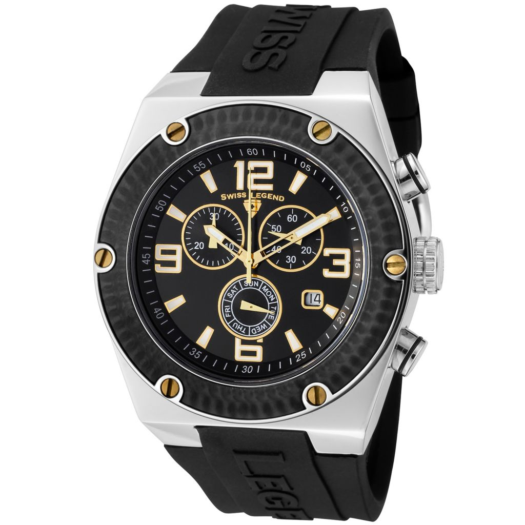 624-835 - Swiss Legend 46mm Throttle Quartz Chronograph Colored Dial Silicone Strap Watch