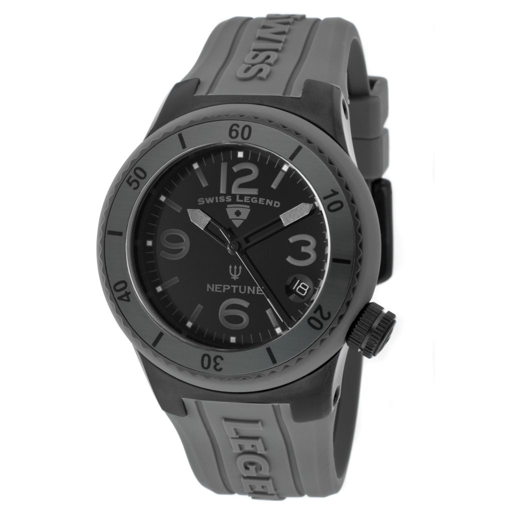 624-843 - Swiss Legend 40mm Neptune Quartz Silicone Rubber Strap Watch