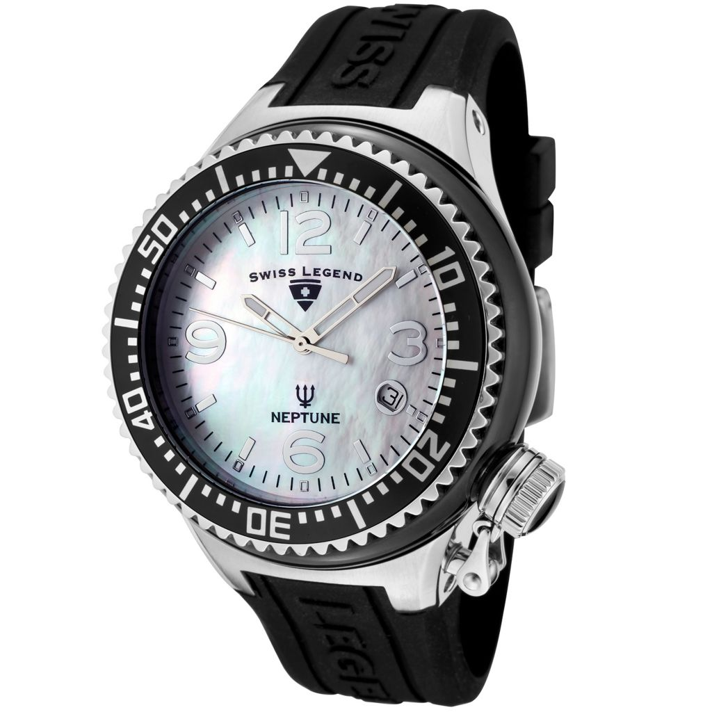 624-844 - Swiss Legend Women's Neptune Ceramic Quartz Mother-of-Pearl Dial Silicone Rubber Strap Watch
