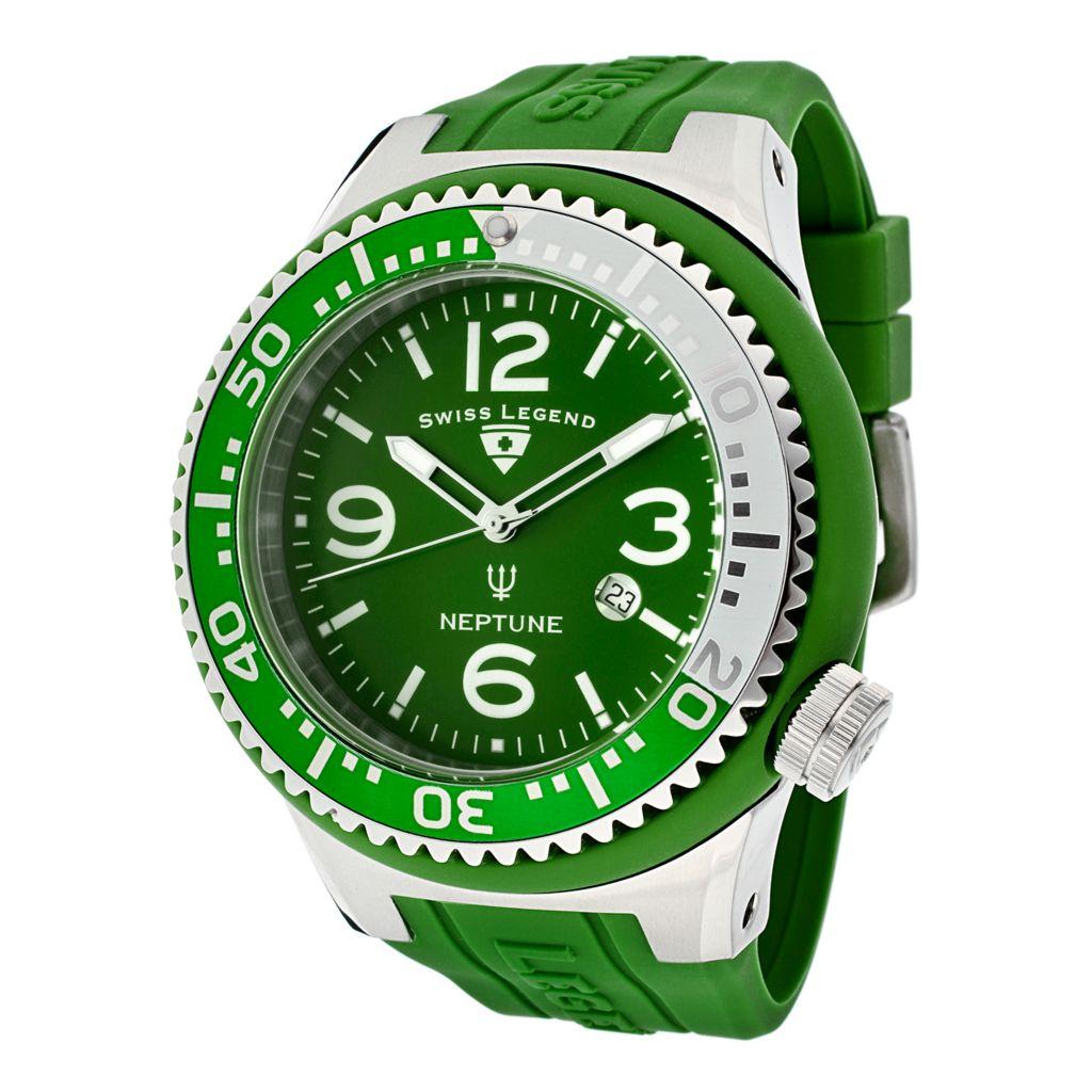 624-850 - Swiss Legend 52mm Neptune Quartz Green Silicone Rubber Strap Watch