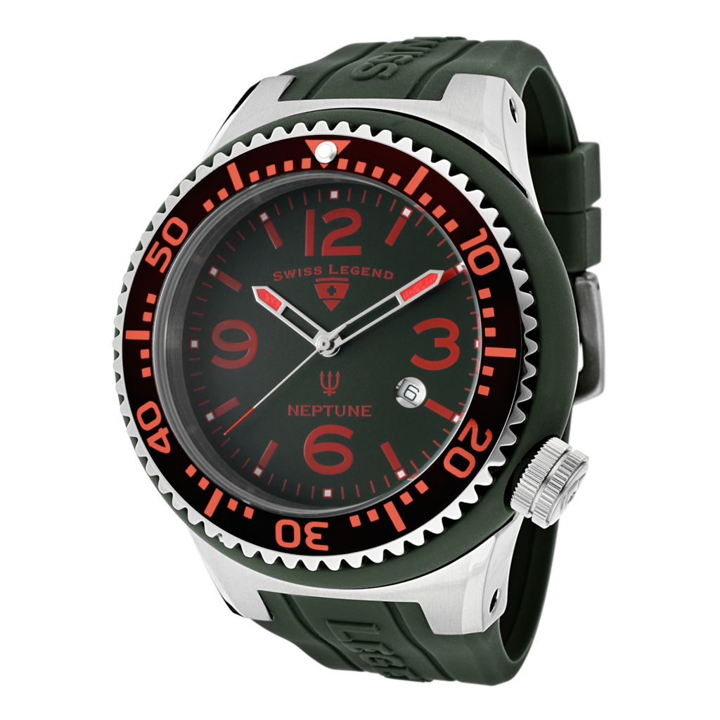 624-854 - Swiss Legend 52mm Neptune Quartz Green Dial Silicone Rubber Strap Watch