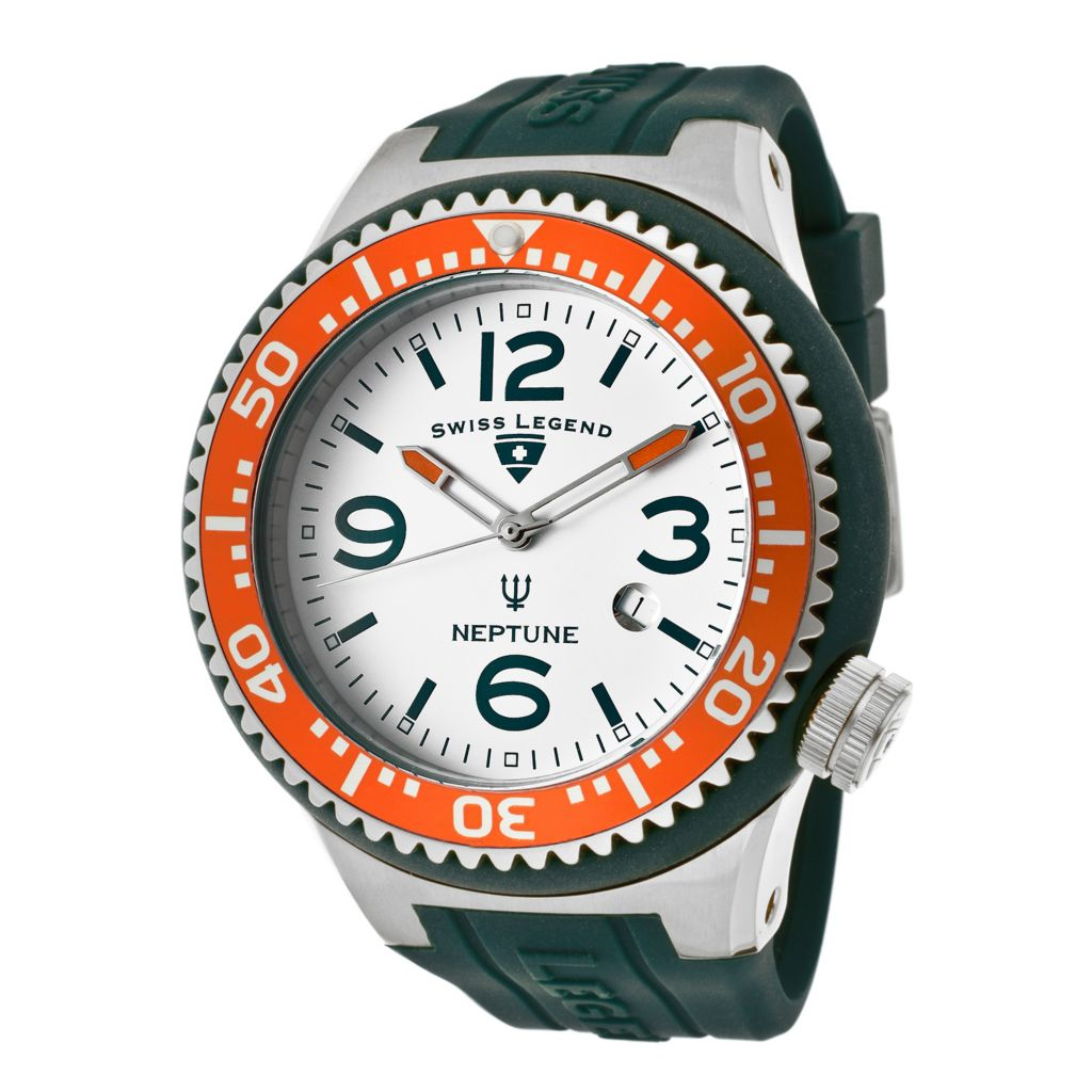 624-856 - Swiss Legend 52mm Neptune Quartz Orange & Teal Silicone Rubber Strap Watch