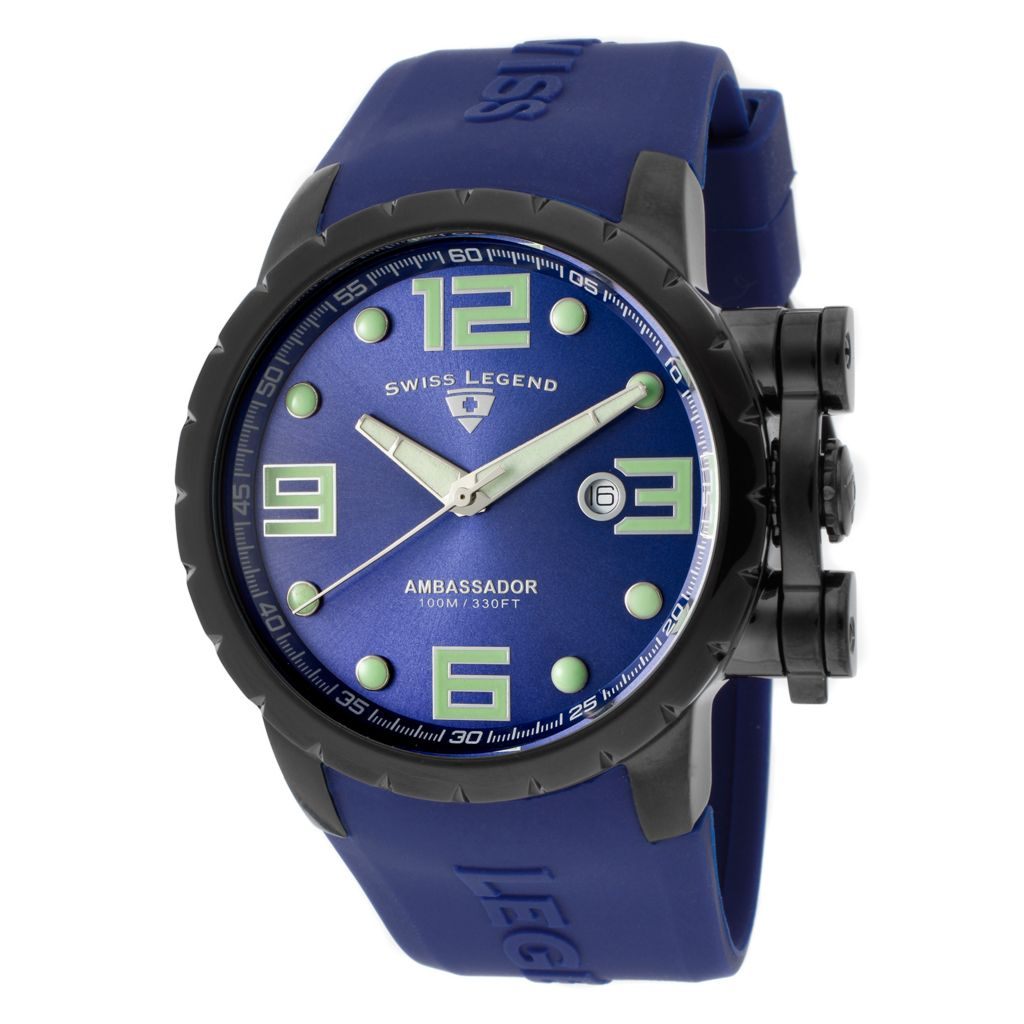 624-861 - Swiss Legend 47mm Ambassador Quartz Silicone Rubber Strap Watch