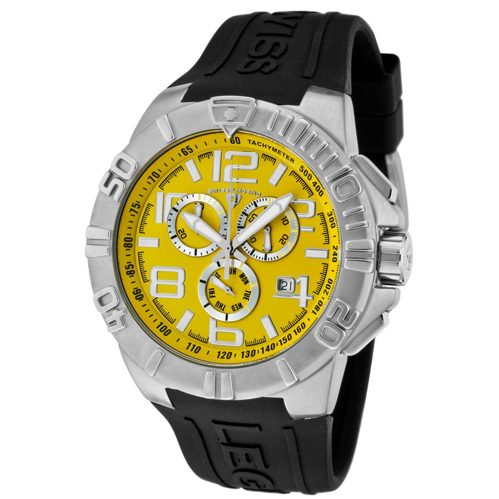 624-863 - Swiss Legend 46mm Super Shield Quartz Chronograph Silicone Rubber Strap Watch