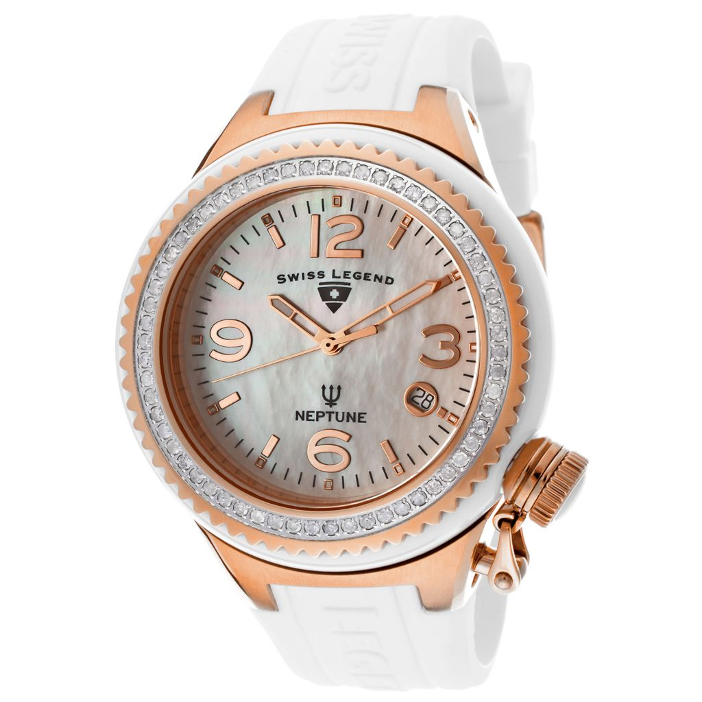 624-865 - Swiss Legend Women's Neptune Quartz Mother-of-Pearl Dial Diamond Acccented Silicone Strap Watch
