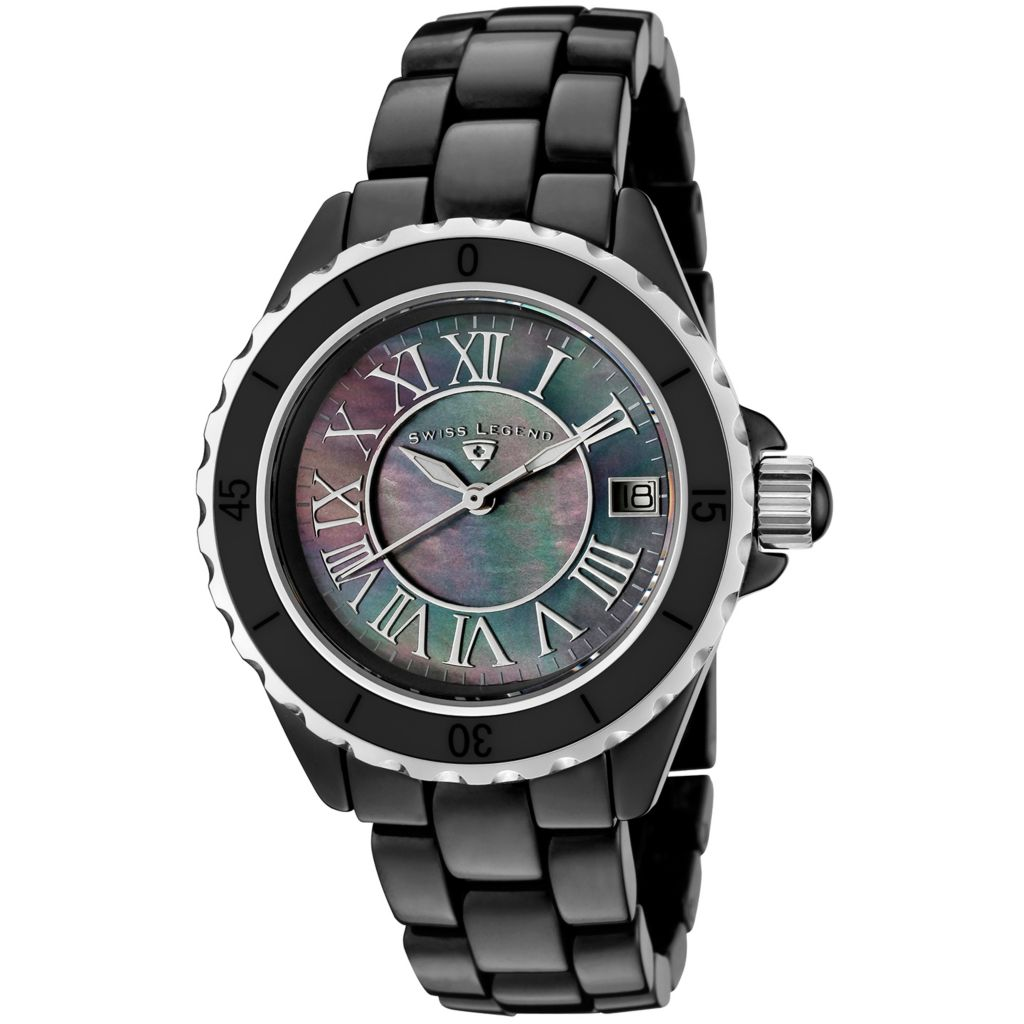 624-867 - Swiss Legend Women's Karamica Quartz Mother-of-Pearl Dial Ceramic Bracelet Watch