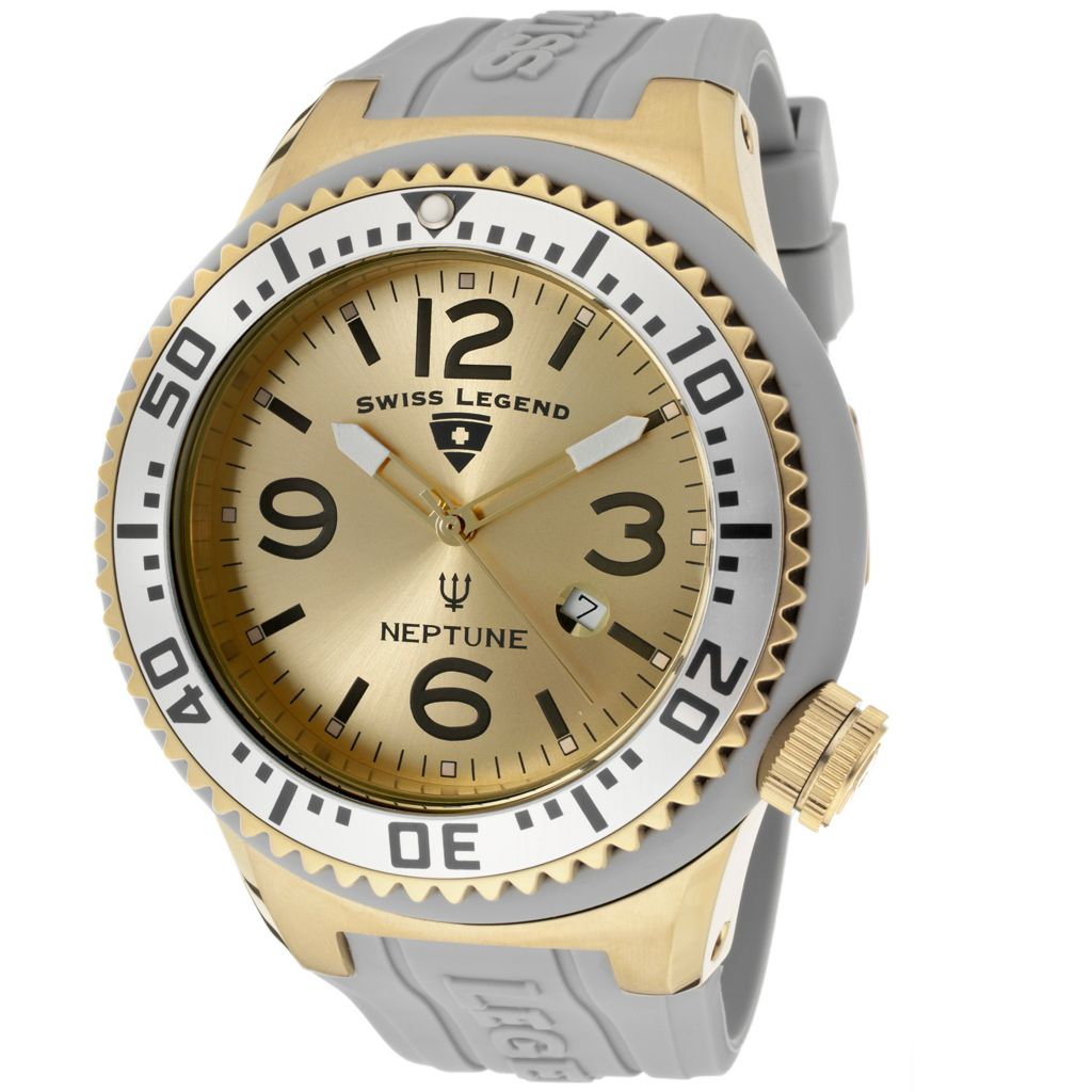 624-869 - Swiss Legend 52mm Neptune Quartz Silicone Rubber Strap Watch