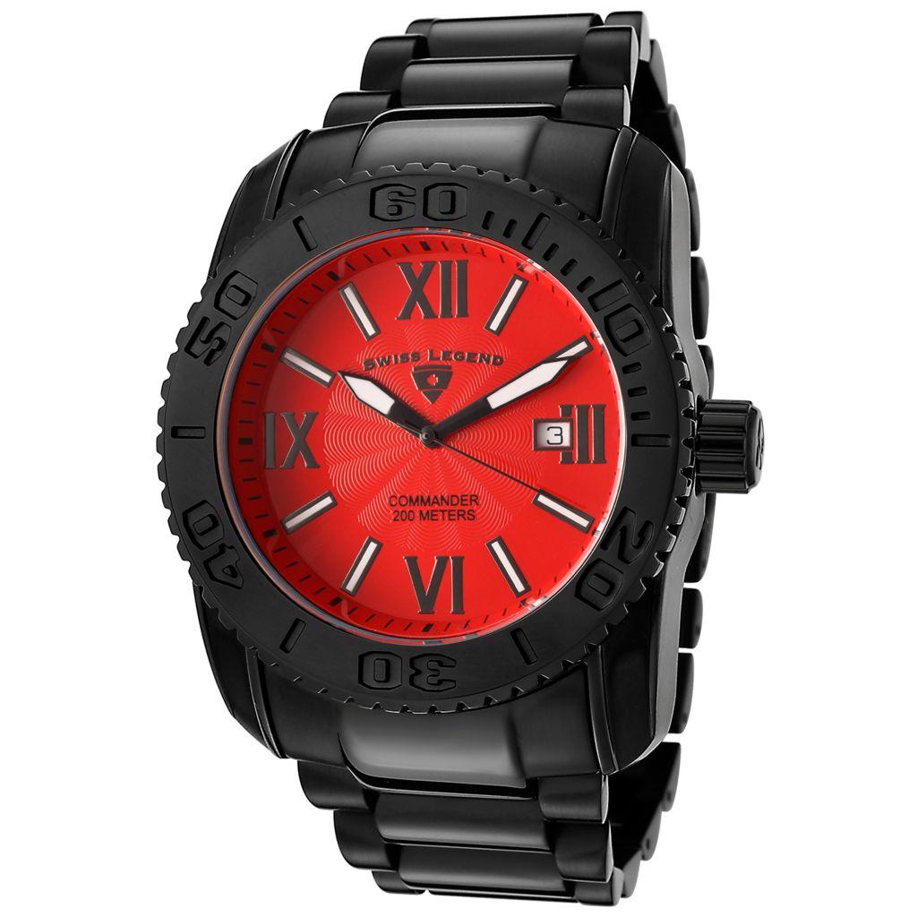 624-871 - Swiss Legend 46mm Commander Quartz Black Stainless Steel Bracelet Watch