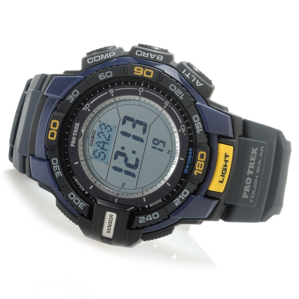 624-877 - Casio 47mm Pro Trek Triple Sensor Digital Compass Rubber Strap Watch