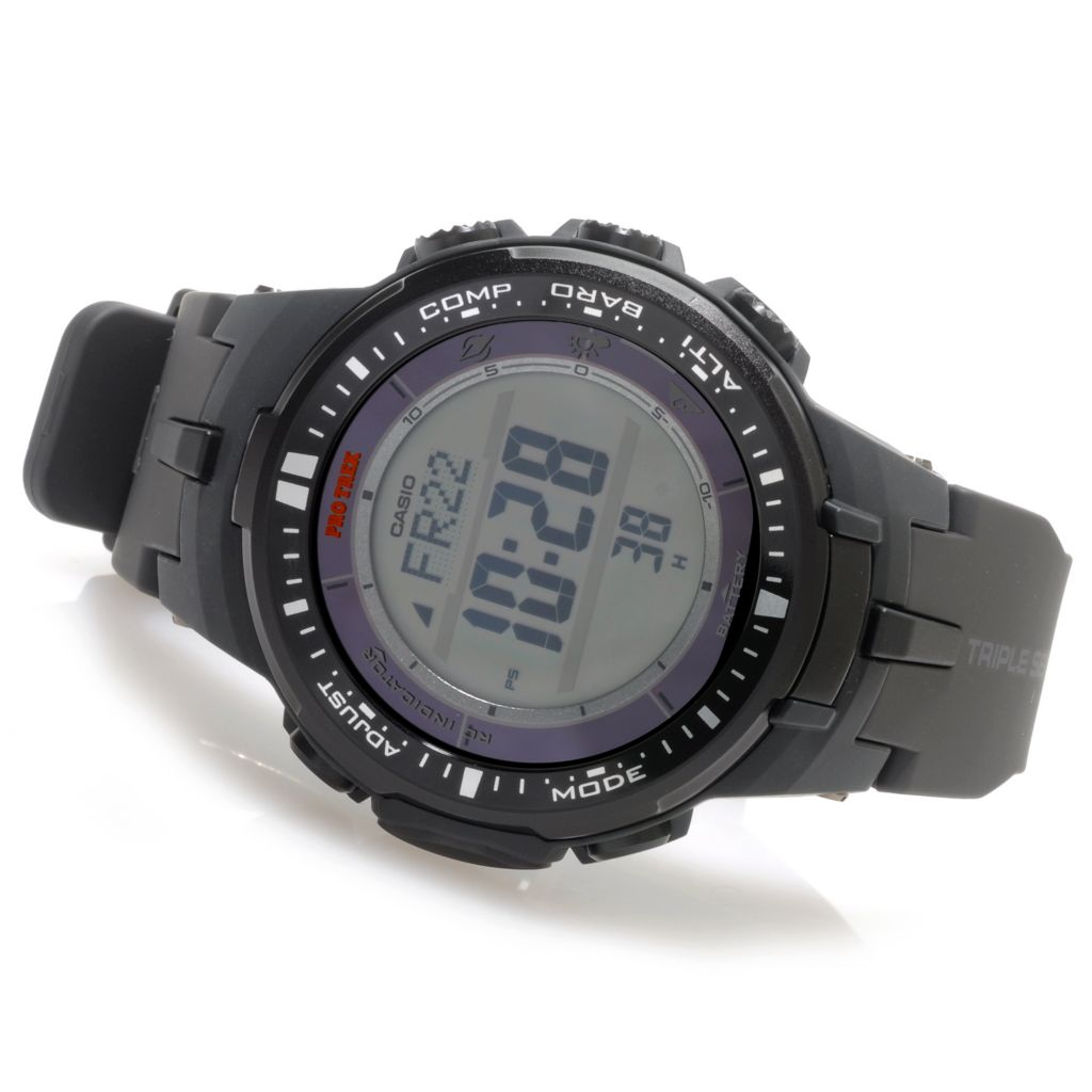 624-878 - Casio 45mm Pro Trek Triple Sensor MB6 Solar Rubber Strap Watch