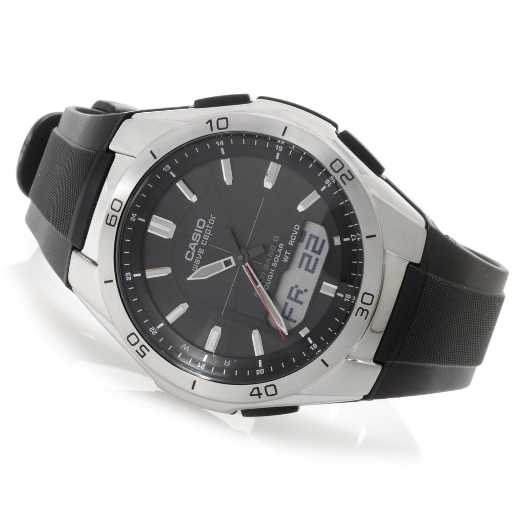 624-879 - Casio Men's Wave Ceptor Quartz Ana/Digi Rubber Strap Watch