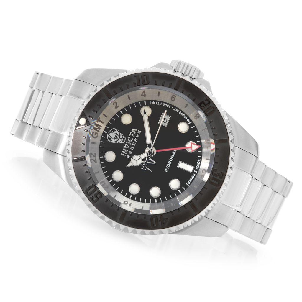 624-885 - Invicta Reserve 52mm Hydromax Swiss Made Quartz GMT Bracelet Watch w/ Eight-Slot Dive Case