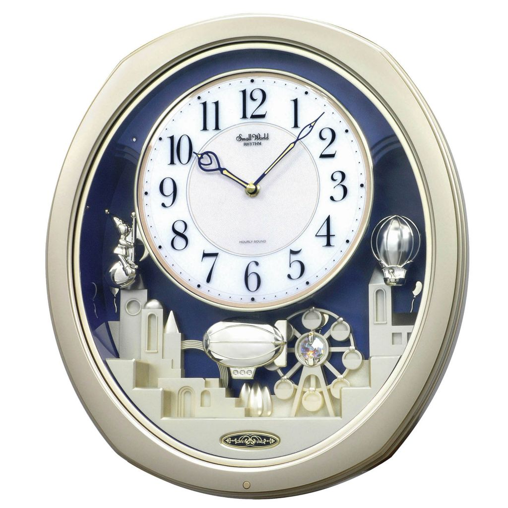 "624-888 - Rhythm® ""Joyful Land"" Musical Motion Wall Clock Made w/ Swarovski® Elements"