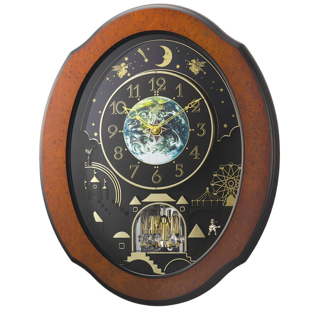 "624-894 - Rhythm® ""Timecracker Cosmos"" Magic Motion Wall Clock Made w/ Swarovski® Elements"