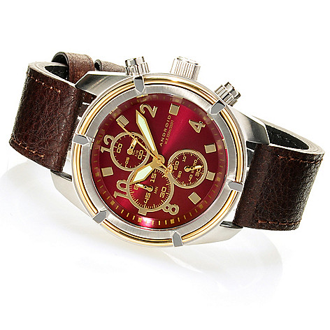 624-896 - Android 45mm Naval Quartz Chronograph Leather Strap Watch