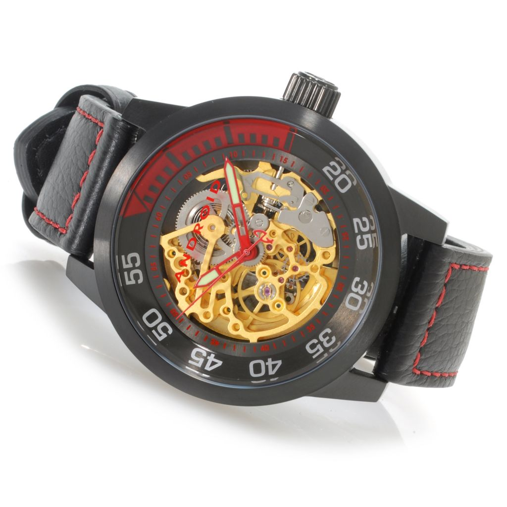 624-898 - Android 46mm Antiforce Automatic Skeleton Leather Strap Watch