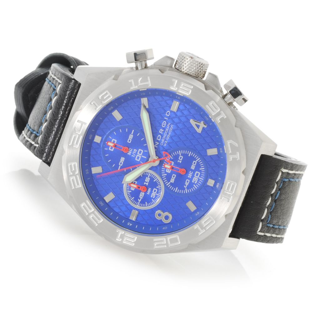 624-901 - Android 48mm Interceptor Quartz Chronograph Leather Strap Watch