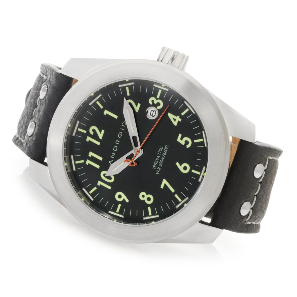 624-902 - Android 49mm Skyguardian T100 Automatic Leather Strap Watch