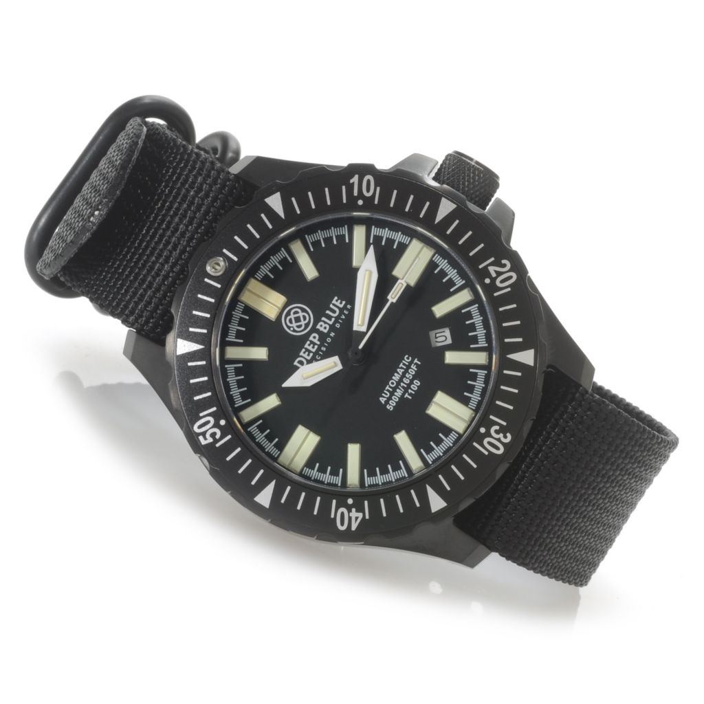 624-931 - Deep Blue 45mm Military Tactical Automatic Tritium Tubes Nylon Strap Watch