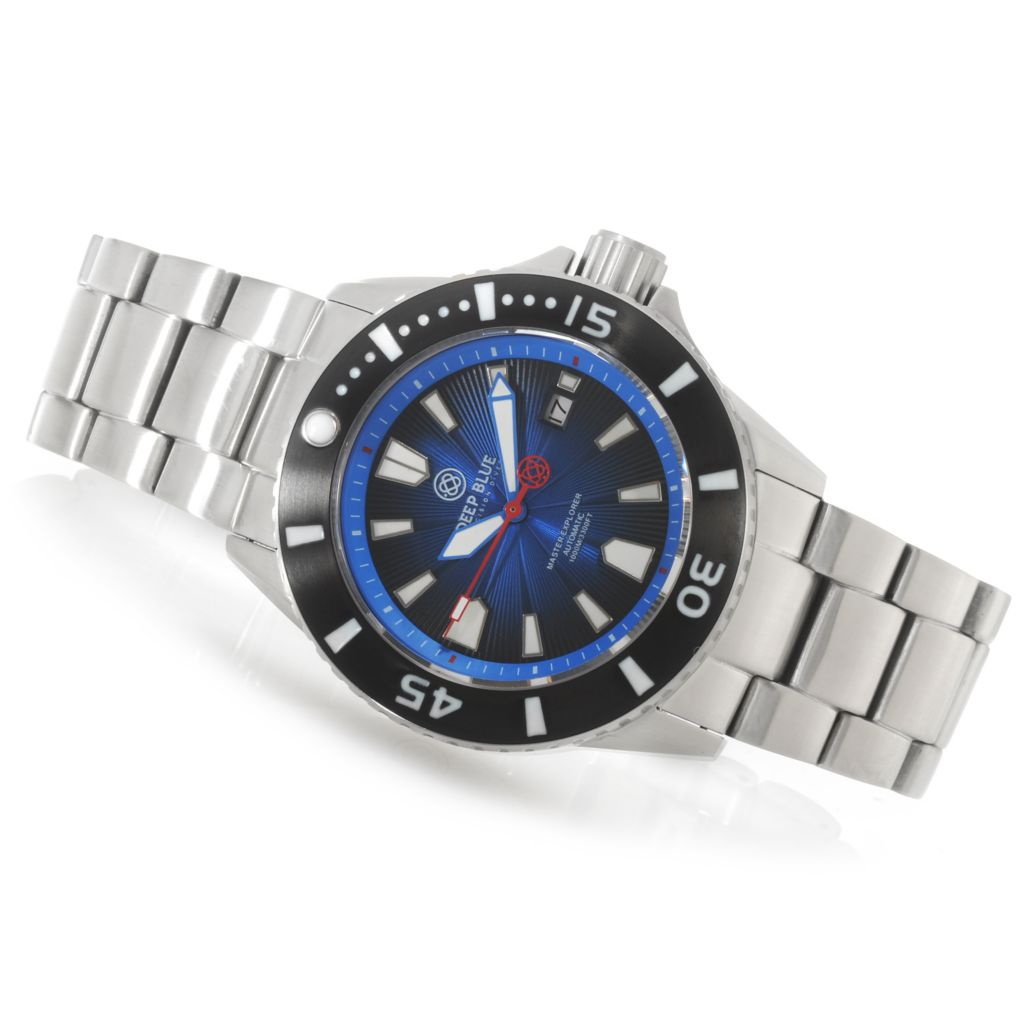 624-933 - Deep Blue 45mm Master Explorer 1000 Automatic Stainless Steel Bracelet Watch