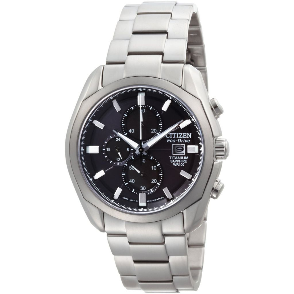 624-960 - Citizen 43mm Eco-Drive Quartz Chronograph Titanium Bracelet Watch