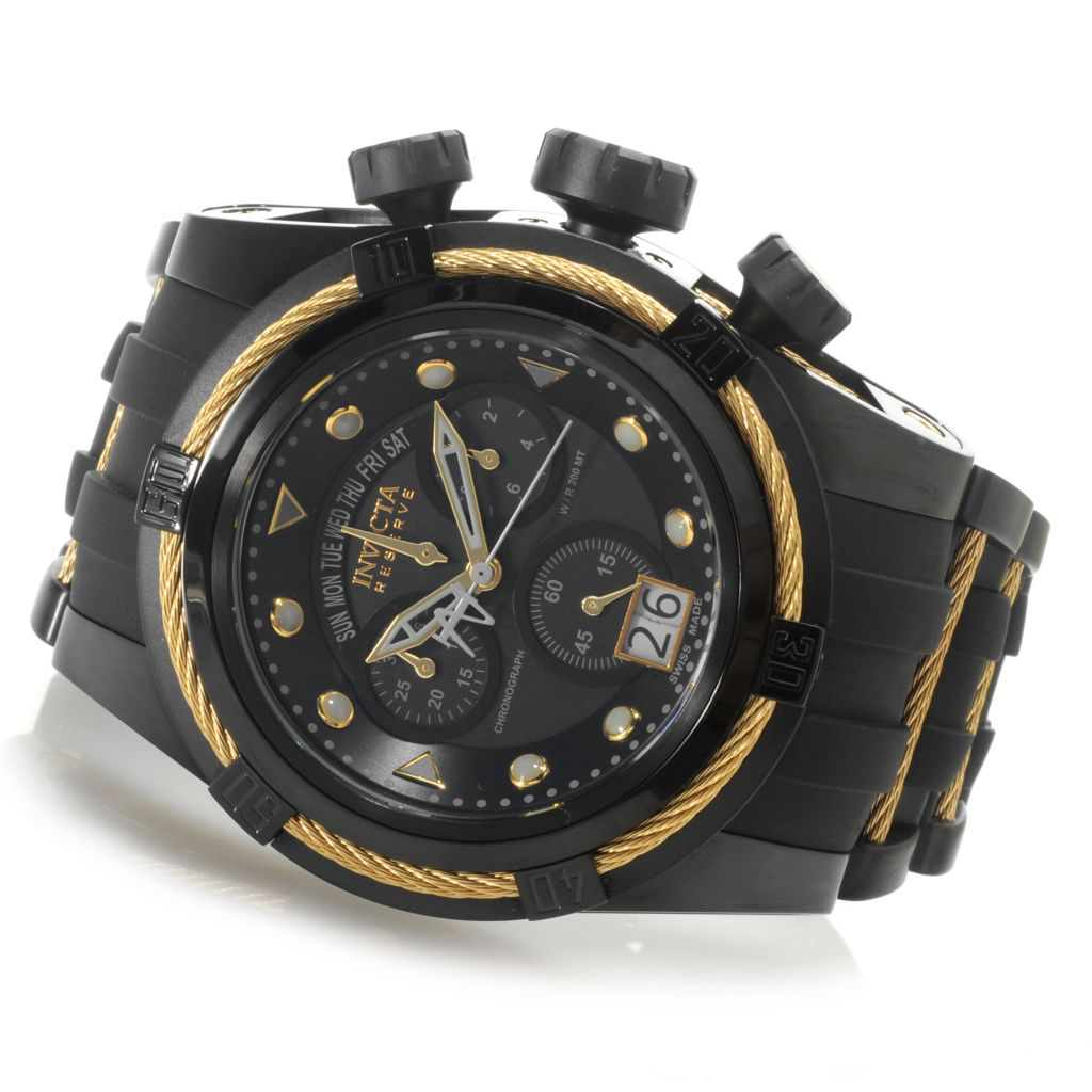 624-965 - Invicta Reserve 52mm Bolt Zeus Swiss Made Quartz Chronograph Polyurethane Strap Watch