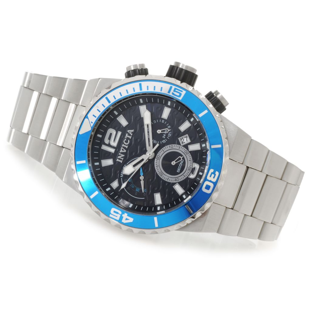 624-966 - Invicta Men's Pro Diver Wave Quartz Chronograph Bracelet Watch w/ One-Slot Dive Case