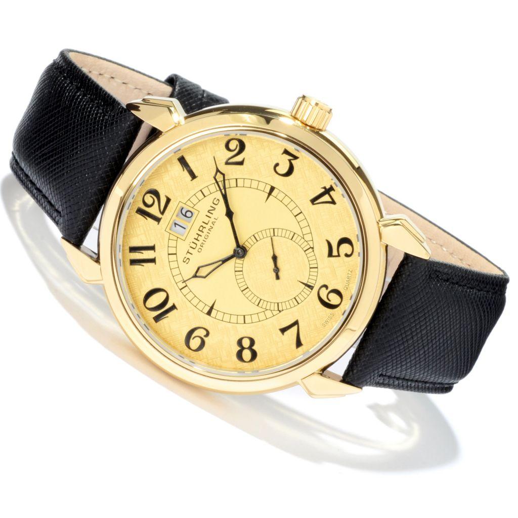 624-987 - Stührling Original 44mm Eternity Quartz Leather Strap Watch