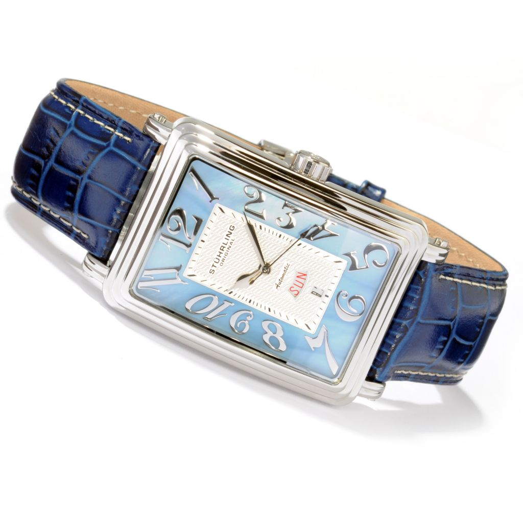 625-000 - Stührling Original Men's Uptown Esquire Mother-of-Pearl Dial Automatic Leather Strap Watch