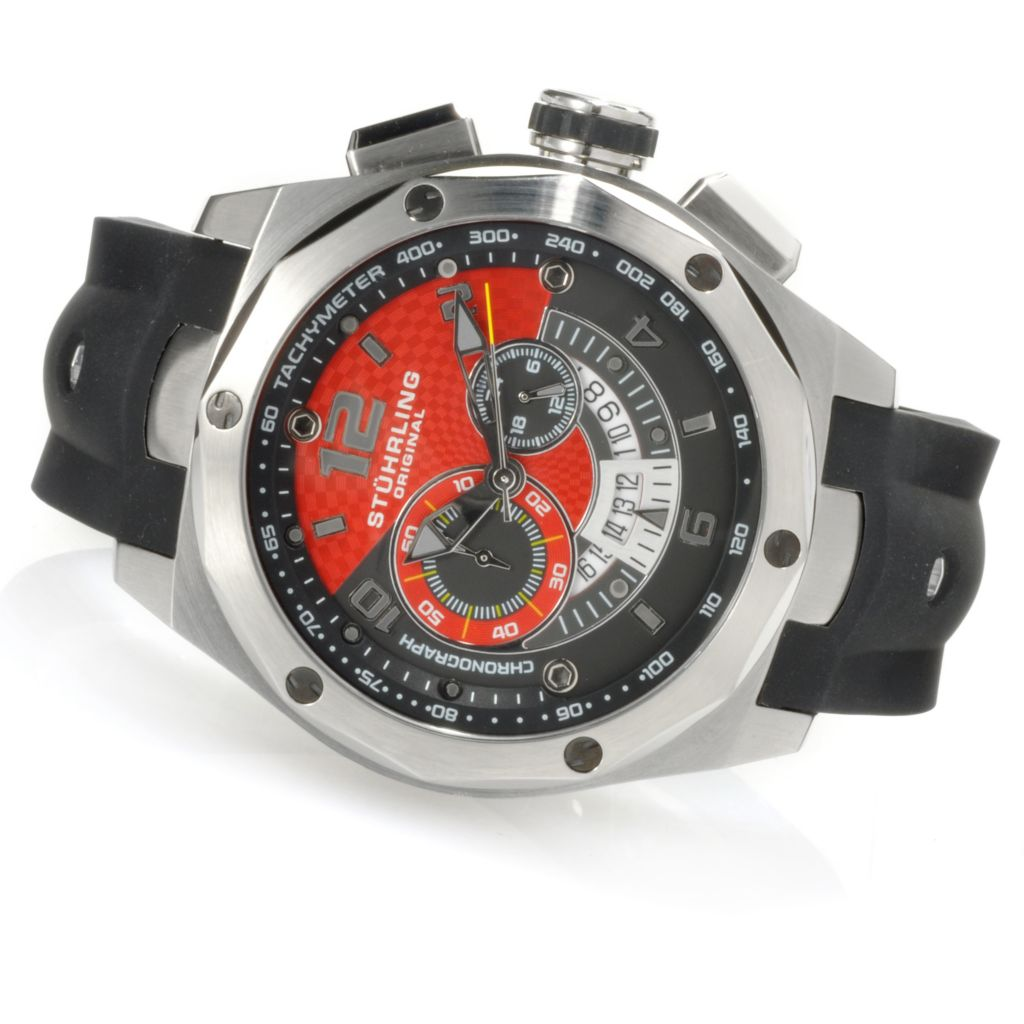 625-006 - Stührling Original 53mm Columbiad Quartz Chronograph Rubber Strap Watch
