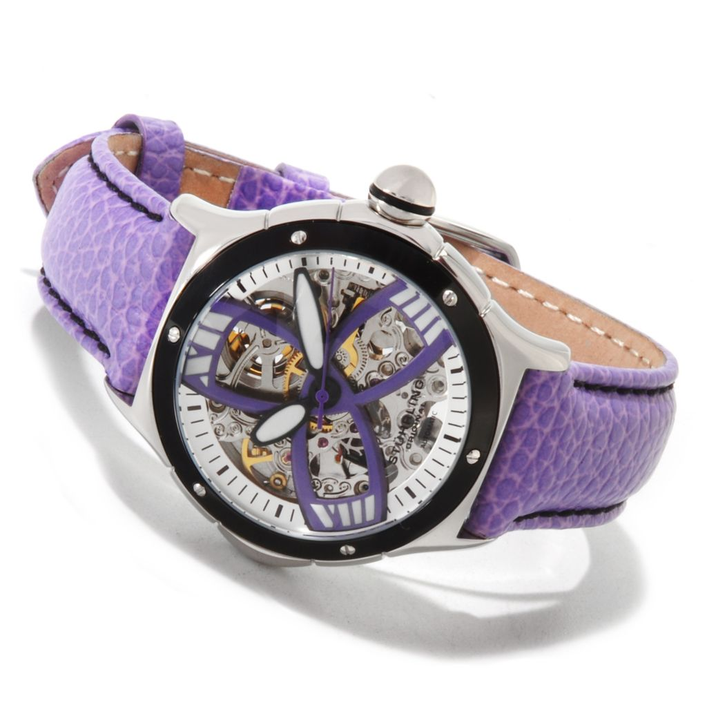 625-011 - Stührling Original Women's Classic Alpine Girl Automatic Skeleton Leather Strap Watch