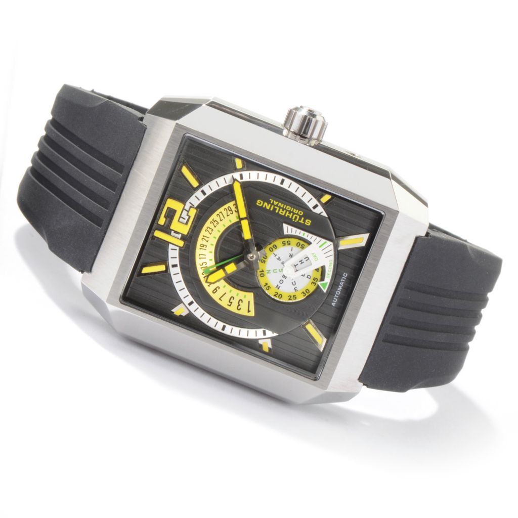 625-025 - Stührling Original Rectangular Metropolis Automatic Stainless Steel Rubber Strap Watch
