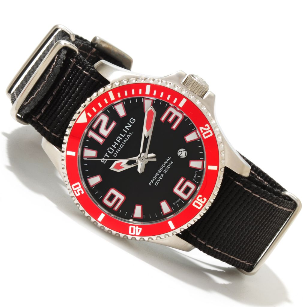625-029 - Stührling Original 42mm Regatta Champion II Quartz Stainless Steel Nylon Strap Watch