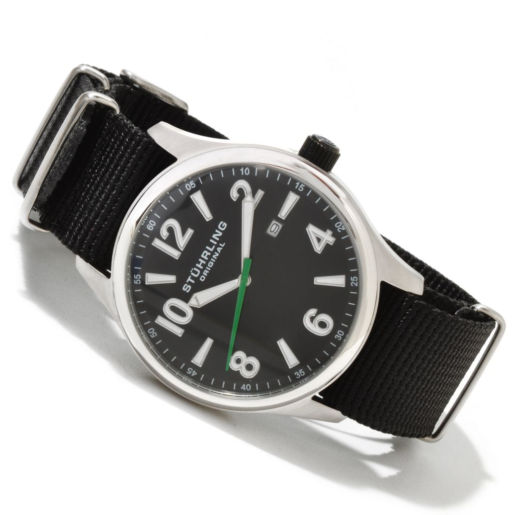 625-030 - Stührling Original 42.5mm Nighthawk Quartz Stainless Steel Canvas Strap Watch
