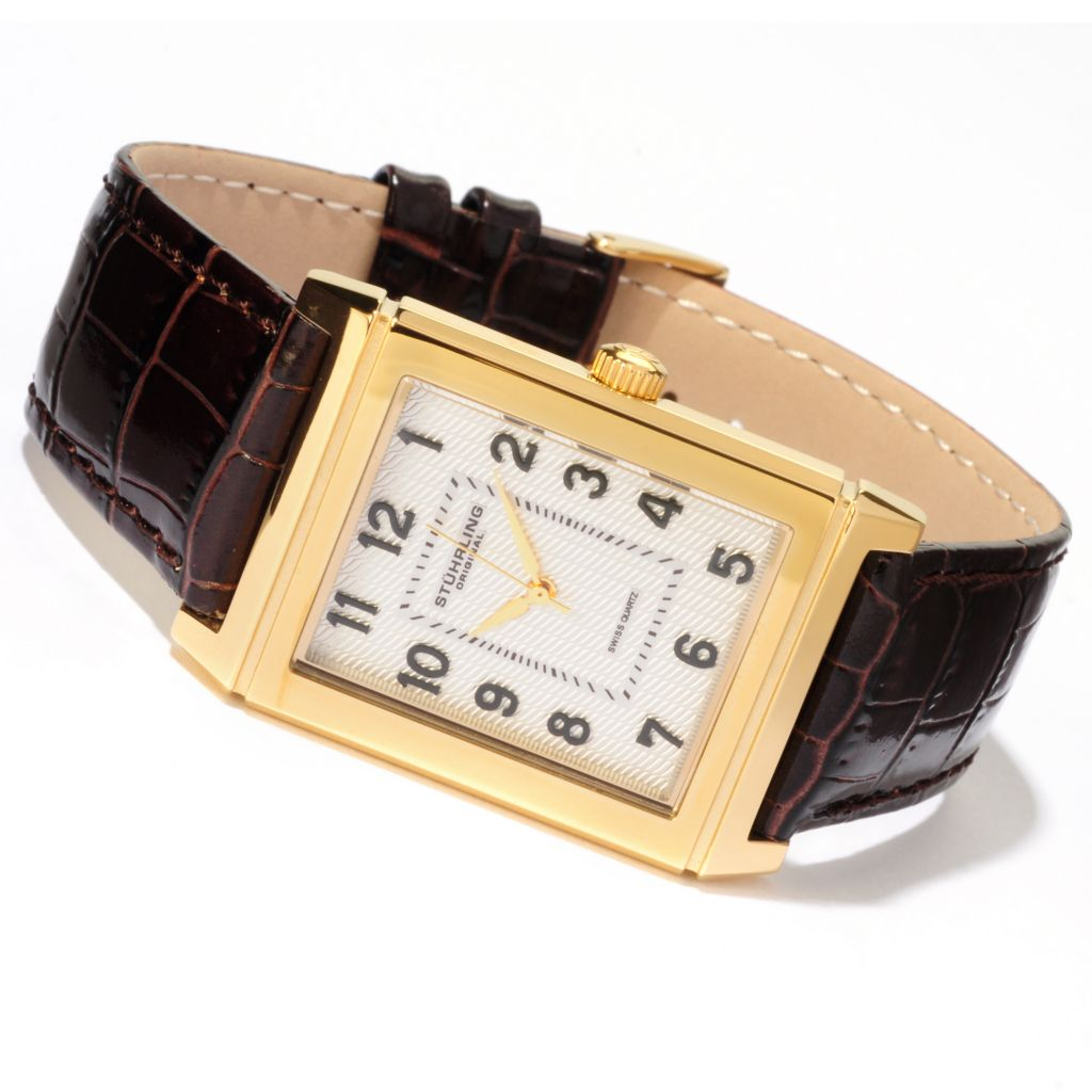 625-034 - Stührling Original Rectangular Skyline Quartz Stainless Steel Case Leather Strap Watch