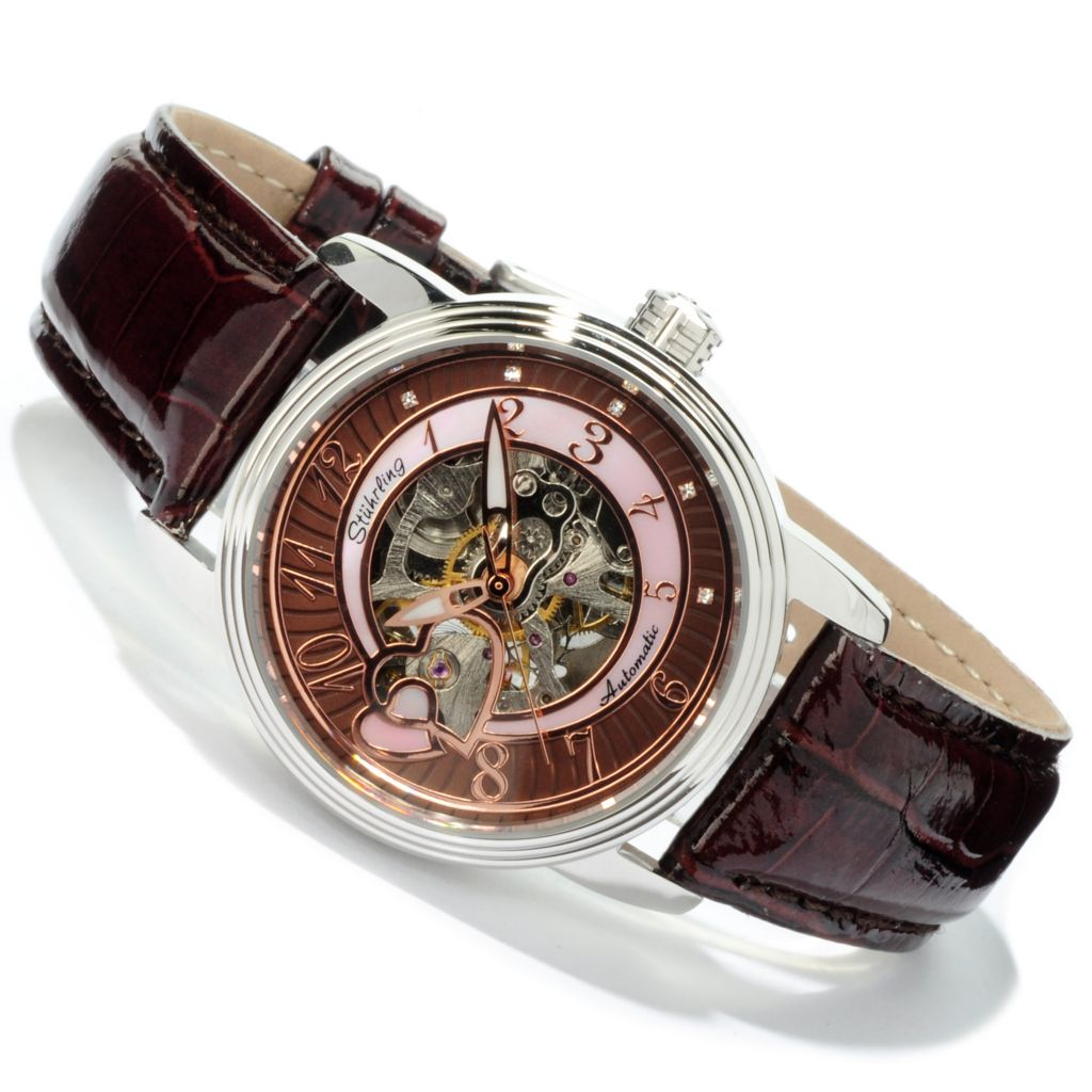 625-035 - Stührling Original Women's Cleopatra Skeletonized Automatic Leather Strap Watch