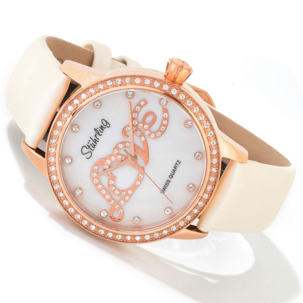 625-041 - Stuhrling Original Women's Hope Collection Leather Strap Watch Made w/ Swarovski Elements