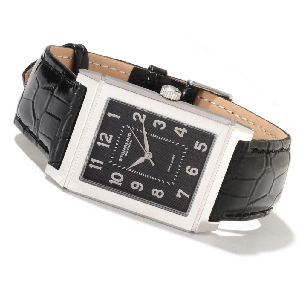 625-042 - Stührling Original Rectangular Skyline Quartz Stainless Steel Leather Strap Watch