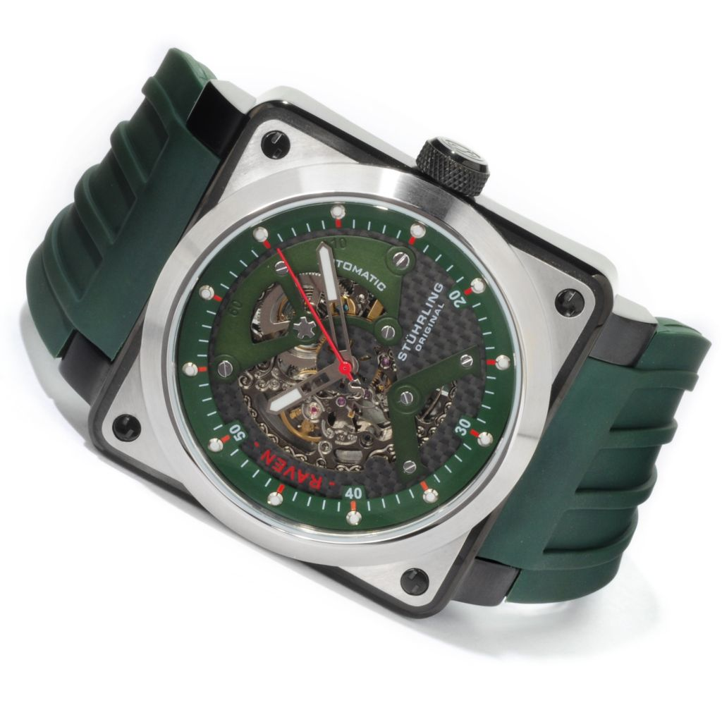 625-046 - Stührling Original Men's Raven Rebel Automatic Rubber Strap Watch