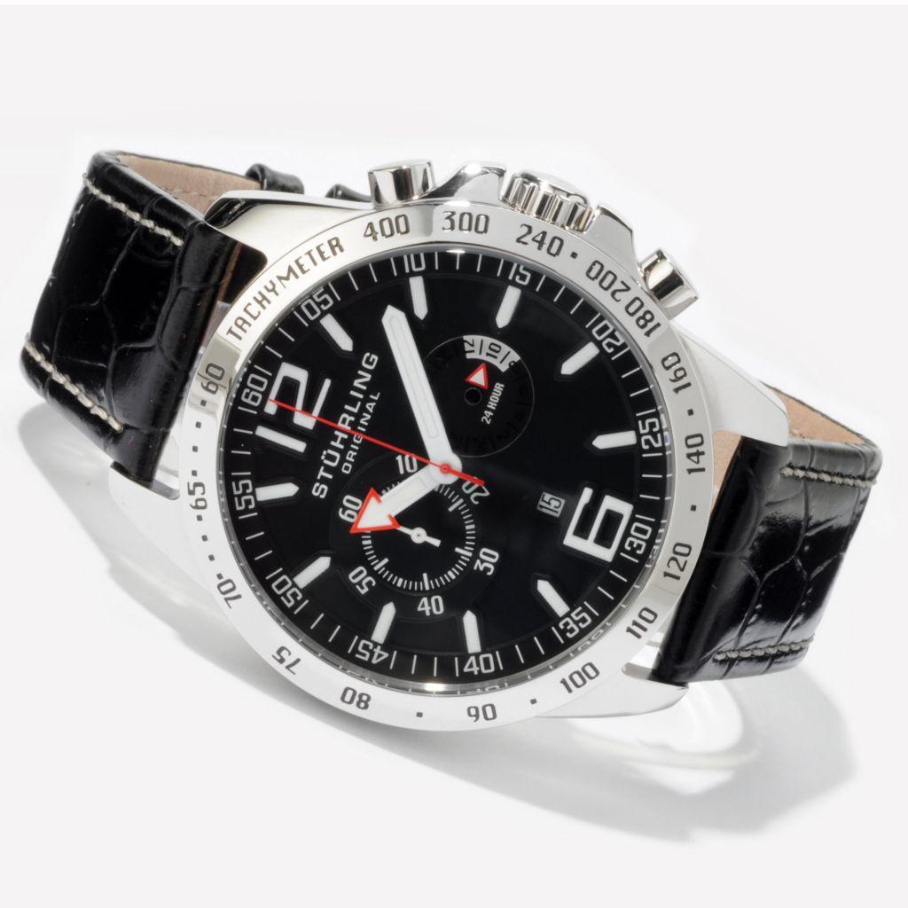 625-049 - Stührling Original 48mm Concorso Laureate Quartz Chronograph Leather Strap Watch