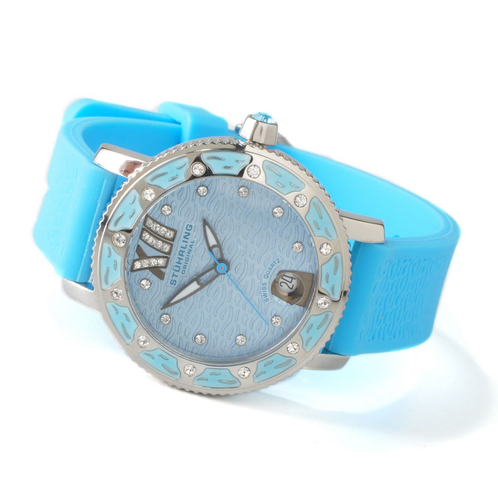 625-050 - Stührling Original Women's Marina Quartz Rubber Strap Watch